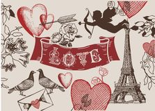 Vintage Valentine franch love banner combo. Vintage Valentine franch love banner on burlap background. combo with hearts, rose, dove, cupid, eiffel tower and a stock images