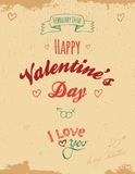 Vintage Valentine greeting card. On sandy-brown background Royalty Free Stock Images