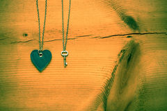 Vintage Valentine,   heart and key on rustic grunge  cracked woo Royalty Free Stock Image