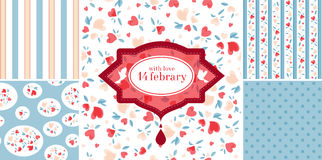 Vintage Valentine Patterns Stock Images