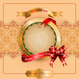 Vintage Valentine's Day background with Happy Valentine's Day text on ribbon Stock Image