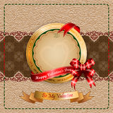 Vintage Valentine's Day background with Happy Valentine's Day text on ribbon Royalty Free Stock Photos