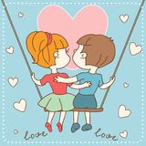 Vintage Valentine's day card of boy and girl in Stock Photo