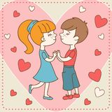 Vintage Valentine's day card of boy kisses girl Royalty Free Stock Image