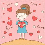 Vintage Valentine's day card of girl with heart Stock Photos