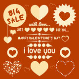 Vintage valentine`s day elements set Stock Photo