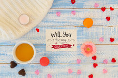 Vintage Valentine`s Day flat lay template of love hand lettering note Royalty Free Stock Photo