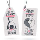 Vintage Valentine's Day Gift Tags Stock Photo