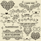 Vintage Valentine's  Design Elements Stock Photos