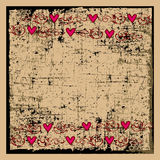 Hearts on a Grunge Background Stock Images