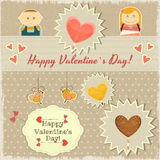 Vintage Valentines Day Card with Sweet Hearts Stock Photo