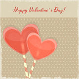Vintage Valentines Day Card with Sweet Hearts Stock Photography