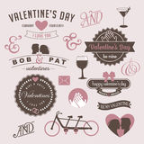 Vintage Valentines Day design graphic elements Stock Photos