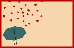 Vintage Valentines Day greeting card with frame, blue umbrella, falling rain of hearts. Vintage Valentines Day greeting card with frame, blue umbrella and Royalty Free Stock Image