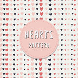 Vintage valentines day pattern with freehand hearts. Vector celebration background. Royalty Free Stock Images