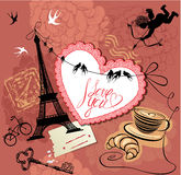Vintage Valentines Day Postcard with Paris theme - Stock Photo