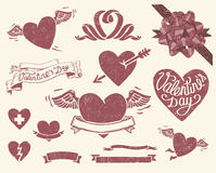 Vintage Valentine's day set Royalty Free Stock Photo