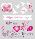 Vintage valentines day set Royalty Free Stock Image