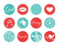 Vintage Valentines Labels Stock Images