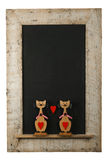 Vintage Valentines Love Cats Chalkboard Reclaimed Wood Frame Iso. Vintage valentines love cats with red hearts chalkboard blackboard in reclaimed old wooden Stock Images