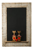 Vintage Valentines Love Cats Chalkboard Reclaimed Wood Frame Iso. Vintage valentines love cats with red hearts chalkboard blackboard in reclaimed old wooden Stock Photo