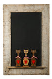 Vintage Valentines Love Cats Chalkboard Reclaimed Wood Frame Iso. Vintage valentines love cats with red hearts chalkboard blackboard in reclaimed old wooden Stock Photos
