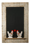 Vintage Valentines Love Roosters Chalkboard Reclaimed Wood Frame Stock Photo