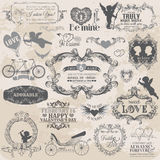 Vintage Valentines Love Set Royalty Free Stock Photo