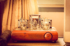 Vintage valve tube amplifier from 1950.  stock images