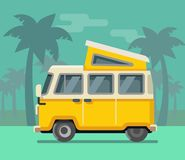 Vintage van. Summer vacation time, tropics. Stock Photography