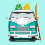 Vintage Van y tablas de la resaca Imagen de archivo libre de regalías