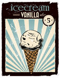 Vintage vanilla ice cream poster Royalty Free Stock Image
