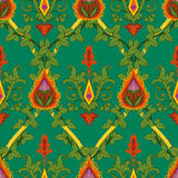 Vintage variegated seamless pattern ivy and fire flower Royalty Free Stock Image