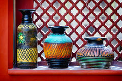 Vintage vases on the windowsill. India Stock Images