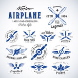 Vintage Vector Airplane Labels Set with Retro Royalty Free Stock Image