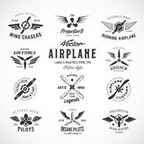 Vintage Vector Airplane Labels Set with Retro Typography. Isolated Stock Photo