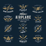 Vintage Vector Airplane Labels Set with Retro Royalty Free Stock Images