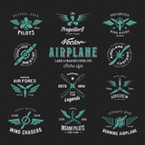 Vintage Vector Airplane Labels Set with Retro Typography. Shabby Texture on Dark Background Stock Photo