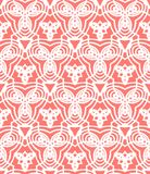 Vintage vector art deco pattern in coral red. And white. Seamless texture for web; print; wallpaper; wedding invitation or website background; spring, summer or royalty free illustration