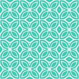 Vintage vector art deco pattern with 1970s motifs. In tropical blue and white colors stock illustration