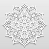 Lacy paper doily, decorative flower, decorative snowflake, mandala. Embossed pattern, arabic ornament,indian ornament, 3D, vector Stock Photo