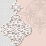Vintage vector background, festive pattern embossing,  alace paper card. Floral ornament, indian ornament, template greetings, 3D, EPS10 Royalty Free Stock Photos