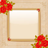 Vintage vector background with a gold frame and red roses. Stock Photography
