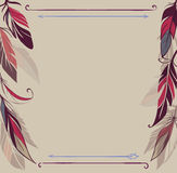 Vintage vector background with hand drawn feathers. Card with hand drawn feathers, vector illustrations vector illustration