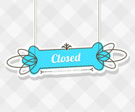 Vintage vector background with hanging sign and Closed word. Royalty Free Stock Photo