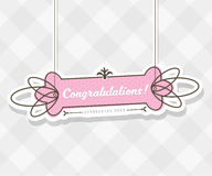Vintage vector background with hanging sign and Congratulations Stock Photography