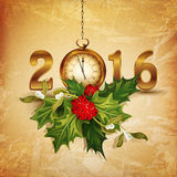Vintage vector background for the new 2016 with holly. The vintage vector background for the new 2016 with holly vector illustration