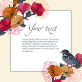 Vintage vector banner bird with flowers in the garden with space for text. Royalty Free Stock Photo