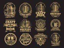 Vintage vector beer labels on black background. Beer label brewery, alcohol drink beverage illustration vector illustration