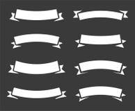 Vintage vector bent rounded arc banner ribbons, simple new retro modern design element on black or dark gray background. Vintage vector bent rounded arc banner stock illustration